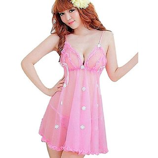 Babydoll Quinize Naughty Night Dress Pink Exotic for Girls (Seductive Dress in Net)