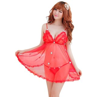 Babydoll Sexy and Hot Red Exotic Naughty Night Dress for Ladies (Tempting Dress in Net)
