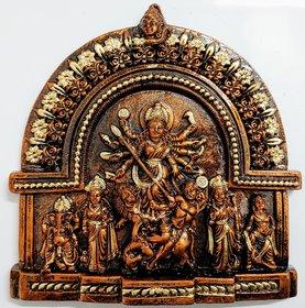 Mukherjee Handicraft's Terracotta Maa Durga Ma Dura Sherawali Maa Wall Hanging Showpiece Medium