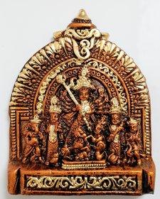 Mukherjee Handicraft's Terracotta Maa Durga Ma Dura Sherawali Maa Wall Hanging Showpiece Small