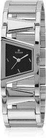 Titan Women Black & Silver Stainless Steel Analog Watch Tn2486S
