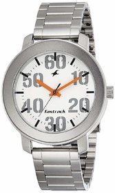 Fastrack White Round Dial Silver Stainless Steel Strap Analog Watch For Men (3121SM01 )