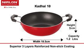 Nirlon Gas Compatible Non-Stick Kadhai with Bakelite Handle, 18.5cm, (1.2Ltr)