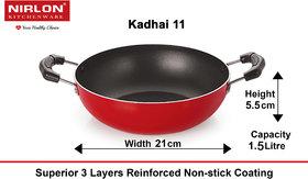 Nirlon Non-Stick Aluminium Gas Compatible Kadhai, 21cm, (1.5Ltr)