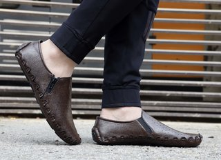 MarcoUno Brown Designer,Comfortable and Latest Stylish Side-Zip Men's Shoes