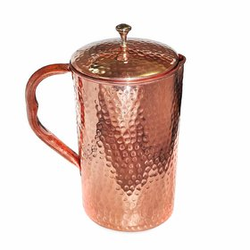 Pure Copper Jug Hammered for Serving and Storing Water, 1500 ML with 2 Glass Set