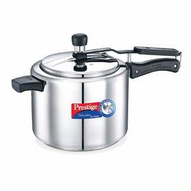 TTK Prestige Nakshatra Induction Base Stainless Steel Pressure Cooker, 5 Liters, Silver