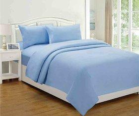 Plain Cotton Blue Queen Bedsheet