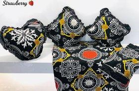 Black Printed Queen 6 Piece Bedsheet Set