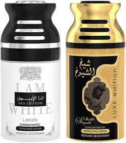 Lattafa Ana Abiyedh+SheikhShuyukhLuxe 250ml Deodorant Bodyspray Combo Pack of 2