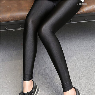eDESIRE Shimmer Shining Leggings Casual Skinny Leggings Fashion Pants Pencil Legging for Girls Women, Black (Free Size)