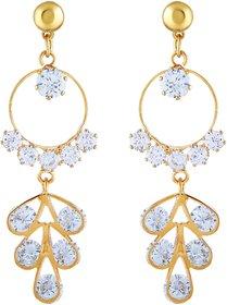Asmitta Glittery Round Shape With White Stone Gold Plated Dangler Earring For Women