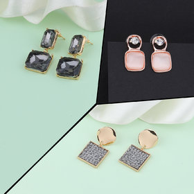 Party Wear Stylish Fashion Earrings For Women and Girls 3 Pairs