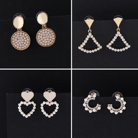 Party Wear Pearl Earring Stylish Fashion Earrings For Women and Girls 4 Pairs