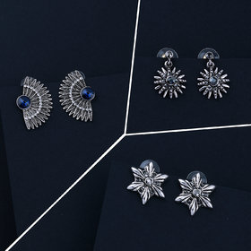Oxidised Traditional Stud Earrings For Women Girls 3 Pairs