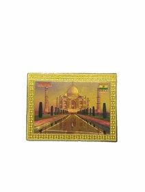 Metalcrafts Indian Souvenir, Fridge Magnet Sticker, Tajmahal motif, Made of Foil, Wood cut, golden, Size 3 inch, 8 cm