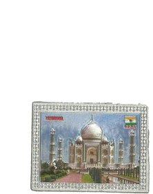 Metalcrafts Indian Souvenir, Fridge Magnet Sticker, Tajmahal motif, Made of Foil, silver, Size 3 inch, 8 cm