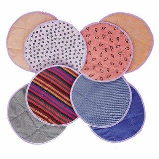 Round Traditional Roti Rumals Cover cloths Chapati Cloths Self Design Striped Printed Checkered Geometric Print-  2 set