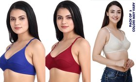 Rayyans (Pack of 3) Good quality full coverage wire free  hosiery fabric cotton Bra (Colors may Vary)