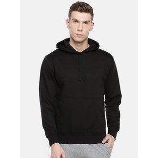 Mishor Men Black Plain Hooded Sweatshirt