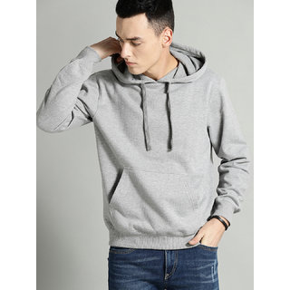Mishor Men Grey Plain Hooded Sweatshirt