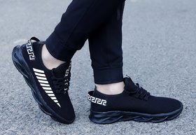Origins Black Latest Stylish Casual Sneakers,Lace up Lightweight Running Sports Shoes For Men's