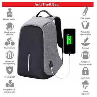 Tuscany Grey Anti-Theft Bag pack for Laptop/College/Office Bag 15.6 Inch