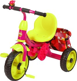Tiffy & Toffee Smart & Safe Tri-Cycle/ Trike, With Push Handle and Basket (Pink) 1-6 Years