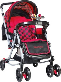 Tiffy & Toffee 3 IN 1 Baby Stroller/Pram with Rocker |Mosquito Net Canopy|Extra Padded Seat ,0-3 yrs (Red/Black) 0-3 Years