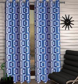 DealsDen Set of 2 Door Semi-Transparent Ring Rod Polyester Curtains Blue