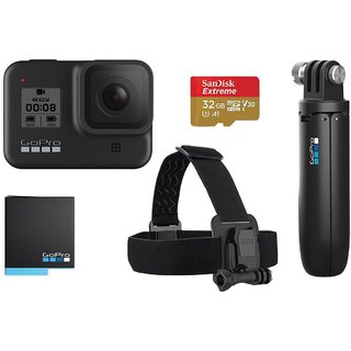 GoPro Hero8 Black 12 MP Sports  Action Camera with Holiday Bundle Pack