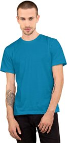 CLOTHINKHUB Blue Solid Round Neck Sports Jersey for Men