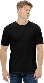 CLOTHINKHUB Black Solid Round Neck Sports Jersey for Men