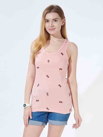 Phaukat Women's Pink Graphic Print Cotton Round Neck Tank Tops