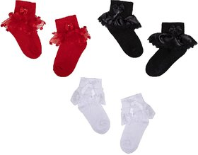 N2S NEXT2SKIN Girl's and Babies Frill Socks Cotton Socks for Children - Pack of 3 Pairs (Red:Black:White, L (6-8 Years))