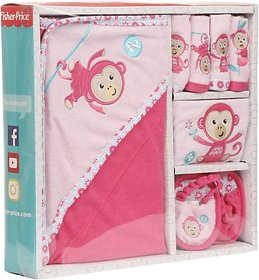 Fisher-Price Fisher Price Baby Bath Set Pack of 7 Pink (Monkey) (Pink) 04 -18 months
