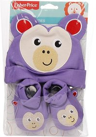 Fisher-Price Fisher Price Baby Cap & Booties Set Pack of 2 Purple (Monkey) (Purple) 04 -18 months