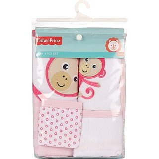 Fisher-Price Fisher Price Baby Bath Set Pack of 4 Pink (Monkey) (Pink) 04 -18 months