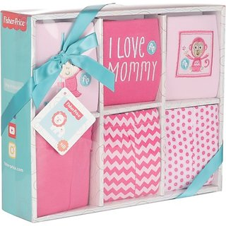 Fisher-Price Fisher Price Baby Gift Set Pack of 6 Pink (Monkey) (Pink) 04 -18 months