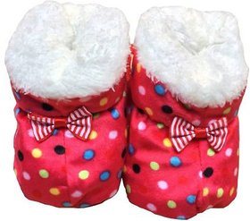 Red Polka Dot Booties For New Born By Low Price Bazaar
