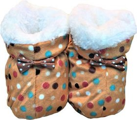 Brown Polka Dot Booties For New Born By Low Price Bazaar