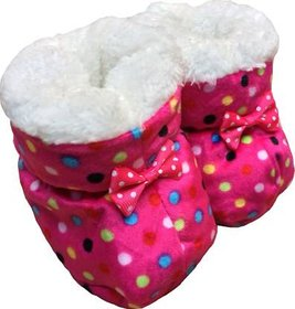 Pink Polka Dot Booties For New Born By Low Price Bazaar
