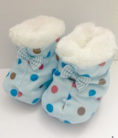 Sky Blue Polka Dot Booties For New Born By Low Price Bazaar