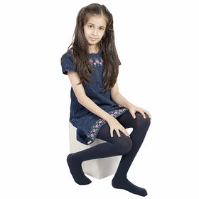 N2S NEXT2SKIN Girl's Spandex Pantyhose Stocking, High Denier and Premium Quality for Children(Navy Blue, M: 7-10 Years)