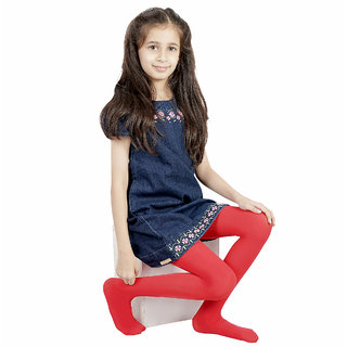 N2S NEXT2SKIN Girl's Spandex Pantyhose Stocking, High Denier and Premium Quality for Children (Red, M: 7-10 Years)