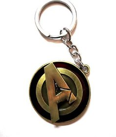 Pack Of 1 Marvel Avengers Logo Rotating Metal Key Chain Golden Rotating Avengers Logo