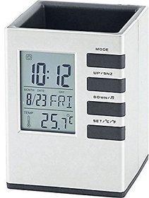 Spillbox Multifunction Cube Pen Holder with LCD Desk Alarm Table Clock and Digital Calendar