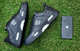 Groofer Men Black Lace-up Sport Shoes