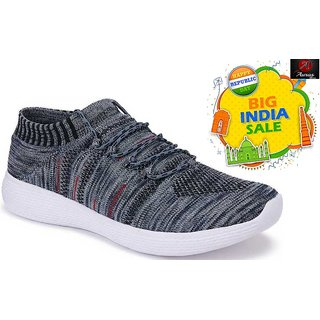 Auras Shoes- Socks Sports Shoes, Walking Shoes, Running Shoes For Men (Grey) - Republic Day Special Offer