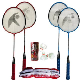 Hipkoo Sports Compete Multicolor Badminton Set ( 4 Rackets, 3 Feather Shuttles and Net )